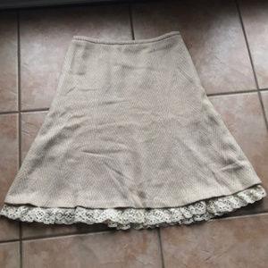 3/$30 LOFT Wool Blend Cream & Tan Flare Skirt 10